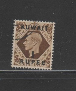 KUWAIT #79  1948  1r on 1sh   KING GEORGE VI SURCHARGED   F-VF  USED  h
