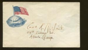 1860's United States Patriotic Civil War Era Postal Cover Unsealed