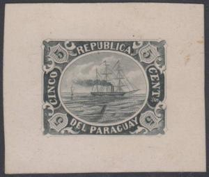 PARAGUAY 1868 BOSTON GANG SHIP UNADOPTED ISSUE 5 Cents BLACK DIE PROOF F,VF