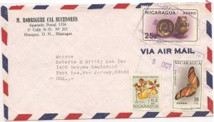 Nicaragua 1967 A/M Cover 10c Butterfly + 25c + 5c  (baf)