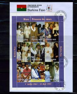 Burkina Faso 1998 Pope Jonh Paul II Princess Diana Sheet Perforated in FDC