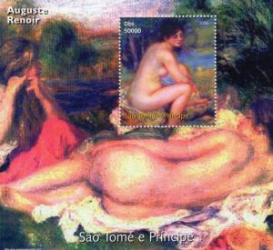 Sao Tome and Principe 2005 Auguste Renoir Nude Ptgs SS Perforated MNH VF