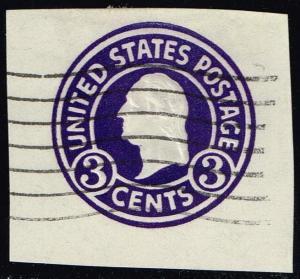 US #U436 George Washington; Used Cut Square (0.25)
