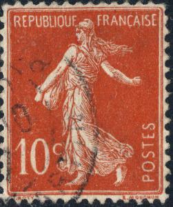 FRANCE - 1906 - Yv.135/Mi.117axI 10c Semeuse chiffres maigres (type IIA) Obl. TB