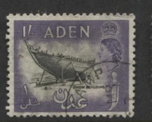 ADEN - Scott 55A- QEII Definitive- 1953-  Used - Single 1/-c Stamp