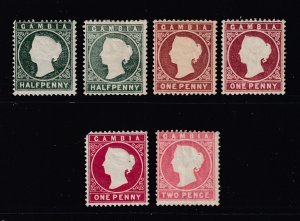 Gambia x 6 MH QV embossed heads