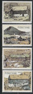 1992 Faroe Islands - Sc 243-6 - MNH VF - 4 single - Traditional Houses