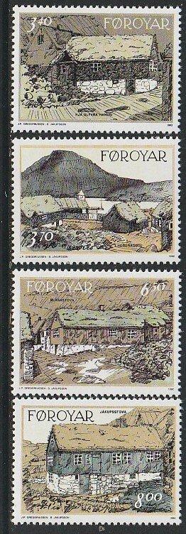 1992 Faroe Islands - Sc 243-6 - MNH VF - 4 single - Traditional Houses