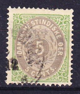 Danish West Indies  8 Used 1876 5c grn & gray Defin.