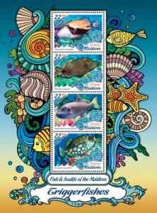 Maldives MNH S/S Triggerfish 2016 4 Stamps
