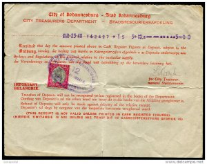 d125 - SOUTH AFRICA 1948 Treasury Dept Receipt 1d Stamp used as Revenue