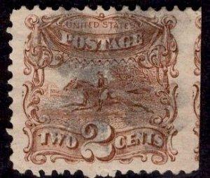 US Stamp #113 Used 2c 1869 Pictorial  SCV $80. Massive Jumbo!