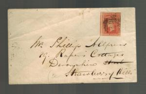 1853 New South Wales NSW Australia cover to STrawberry Hill # 23 Imperf