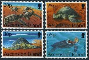 Ascension 585-588,589,MNH.Michel 633-636,Bl.26. Marine life 1994.Green Turtle.