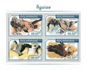 Mozambique Birds of Prey on Stamps 2018 MNH Eagles Raptors 4v M/S
