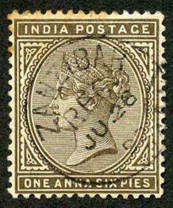 Zanzibar SGZ84 1882-90 India 1a 6p Sepia 28 July 92 with CDS (type Z6) Used