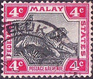 MALAYA 1900 4 Cents Black & Carmine SG17 Used
