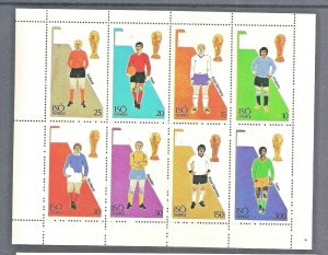 ISO-SWEDISH LOCAL 1974 SOCCER WORLD CUP SHEETLET OF 8 PERF STAMPS