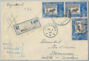 72404 - BURMA - Postal History - REGISTERED COVER to SWEDEN from MANDALAY 1946
