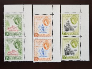 Basutoland, Full Set 3v Stamps in Pairs MNH 1959 Queen Elizabeth II,  Sc58-60.