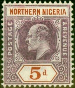 Northern Nigeria 1907 5d Dull Purple & Chestnut SG24a Chalk Fine Lightly Mtd Min