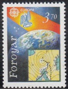 Faroe Islands 1991 MNH Sc #220 3.70k Weather satellite EUROPA