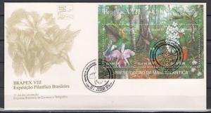 Brazil, Scott cat. 2338. Orchids & Birds s/sheet on a First day cover. ^