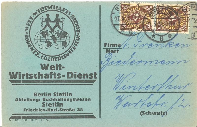 Germany #183 vert. pair tied to three part return card to Switzerland