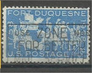 UNITED STATES, 1958, used 4c Fort Duquesne Scott 1123