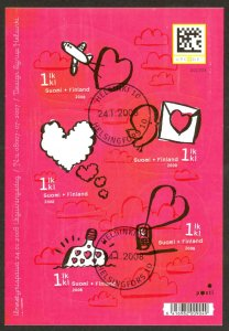 Finland Sc# 1304 FD Cancel Miniature Sheet 2008 Love