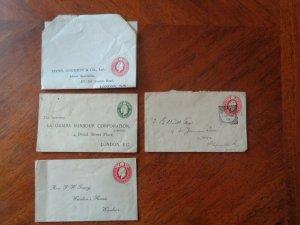 Edward V11. 4 Items of Postal Stationery 3 pre printed reply Envelopes.