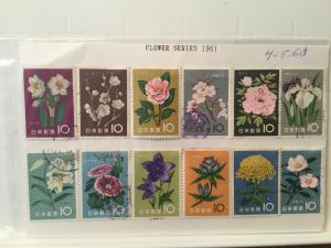 Japan Used 12 stamps Flower series year of 1961