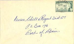 Trinidad 15c San Fernando Town Hall Air Letter 1959 San Fernando to Mitchell,...