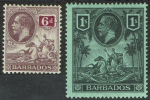 BARBADOS 1912 KGV SEAHORSES 6D AND 1/-