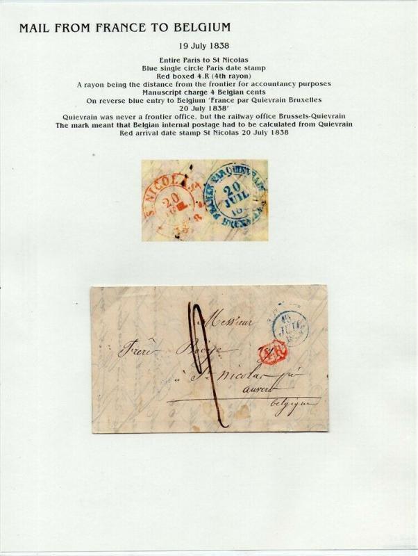 FRANCE Early LETTER/COVER 1838 fine used item Paris - St. Nicolas Belgium