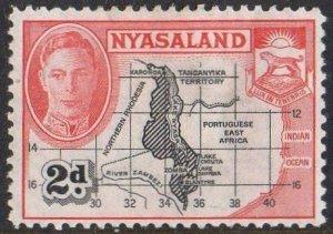 Nyasaland 1945 2d Map MH