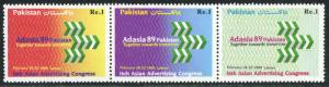 Pakistan 704 strip/3, MNH. Adasia'89,16th Asian Advertising Congress,Lahore,1989