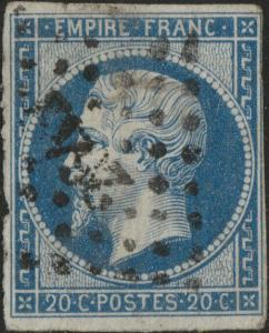 FRANCE - Yv.14 20c bleu ob. PC2642 (Reims) - défauts