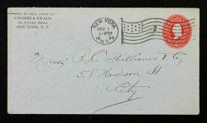 US Stamped Envelope Sc# U365 Entire with 1899 New York , NY Flag Cancel B14-2
