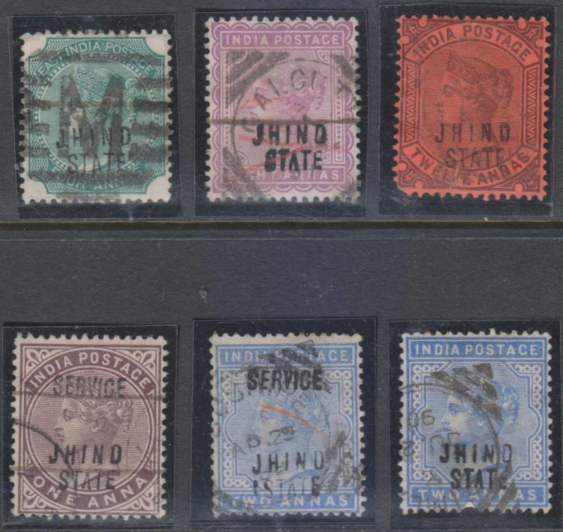 INDIA CONVENTION STATES JIND QV ISSUES 6 STAMPS WITH FAKED OVPTS USED F,VF
