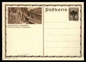 Austria Ostmark Flexenstrasse Postal Card Unissued Swastika Overprint Cove 91062