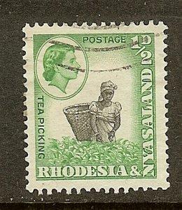 Rhodesia & Nyasaland, Scott #158, 1/2p Queen Elizabeth II, Used