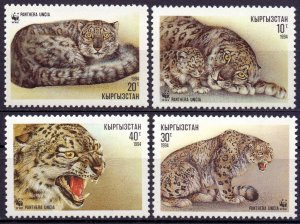 Kyrgyzstan. 1994. 22-25. Fauna snow leopard. MNH.