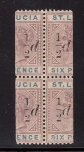 St Lucia #41 #41a VF/NH Rare Block