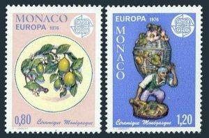 Monaco 1023-1024,MNH.Michel 1230-1231. EUROPE CEPT-1976.Plate,Peddler.