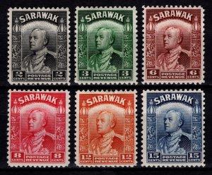 Sarawak 1941 Reissue of Sir Charles Vyner Brooke Definitives, Set [Unused]