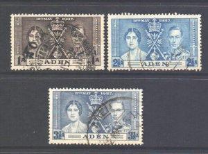 Aden Scott 13/15 - SG13/15, 1937 Coronation Set used