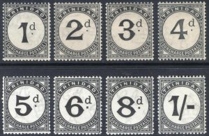 Trinidad & Tobago 1923 1d-1s PostDue SG D18-D25 Sc J1-J8 LMM/MLH Cat£250($322)