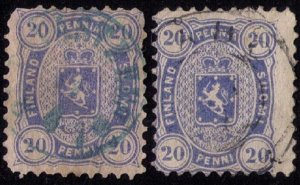 Finland Sc #21,21a Used Two Shades Ultra & Drk Blue F-VF