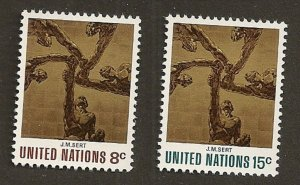 United Nations 232-233 New York Sert Ceiling 8c 15c set MNH 1972